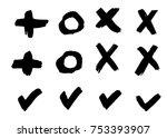 painted brush check mark  cross ... | Shutterstock .eps vector #753393907
