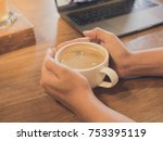 closeup of hands are  holding a ... | Shutterstock . vector #753395119