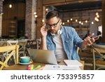 worried freelancer having... | Shutterstock . vector #753395857