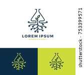 green lab leaf tech logo vector ... | Shutterstock .eps vector #753399571