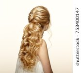 blonde girl with long and shiny ... | Shutterstock . vector #753400147