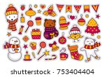 christmas and new year. holiday ... | Shutterstock .eps vector #753404404