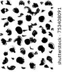 black gouache brush dot print... | Shutterstock . vector #753408091