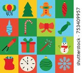 christmas decoration icons ... | Shutterstock .eps vector #753409957
