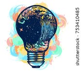 storm in a light bulb color... | Shutterstock .eps vector #753410485