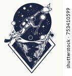 astronaut in deep space t shirt ... | Shutterstock .eps vector #753410599