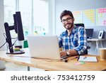 cheerful young programmer... | Shutterstock . vector #753412759