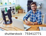 smiling young programmer... | Shutterstock . vector #753412771