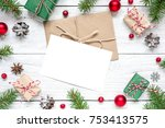 christmas blank greeting card... | Shutterstock . vector #753413575