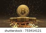 golden bitcoins standing on... | Shutterstock . vector #753414121