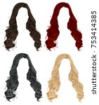 set of trendy stylish long... | Shutterstock .eps vector #753414385