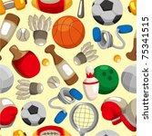 seamless sport goods pattern | Shutterstock .eps vector #75341515