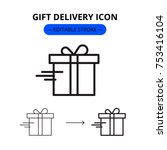 gift delivery modern linear... | Shutterstock .eps vector #753416104