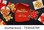 christmas sale background with... | Shutterstock .eps vector #753418789