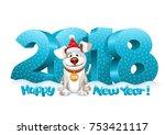volumetric digits 2018 in the... | Shutterstock .eps vector #753421117