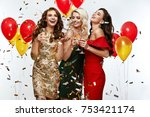 beautiful women celebrating new ... | Shutterstock . vector #753421174