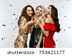 beautiful women celebrating new ... | Shutterstock . vector #753421177