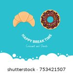 break time with donut and... | Shutterstock .eps vector #753421507