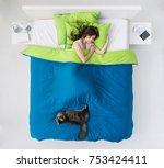 young woman sleeping in her... | Shutterstock . vector #753424411