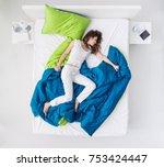 nervous woman sleeping and... | Shutterstock . vector #753424447