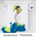 nervous woman sleeping and... | Shutterstock . vector #753424465