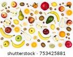 Tasty Colorful Fruit On White...