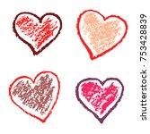 crayon valentine hearts love... | Shutterstock .eps vector #753428839