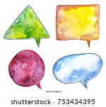 watercolor colorful speech... | Shutterstock . vector #753434395