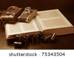 old photoalbum  photocamera and ... | Shutterstock . vector #75343504