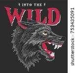 wild wolf vector | Shutterstock .eps vector #753435091