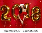 new year party. woman in santa