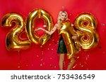 happy new year. beautiful woman ... | Shutterstock . vector #753436549