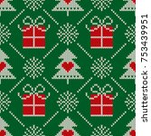 christmas seamless knit pattern ... | Shutterstock .eps vector #753439951