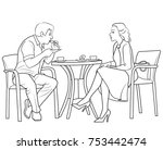 sketch of man and woman sitting ... | Shutterstock .eps vector #753442474