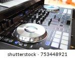 dj set station on the open deck ... | Shutterstock . vector #753448921