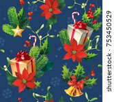 christmas seamless pattern with ...   Shutterstock .eps vector #753450529