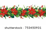 christmas seamless border with...   Shutterstock .eps vector #753450931