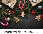 christmas background with... | Shutterstock . vector #753452617