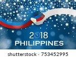 philippines new year 2018... | Shutterstock .eps vector #753452995