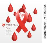 world aids day. vector red... | Shutterstock .eps vector #753453055