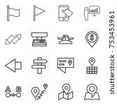 thin line icon set   flag ... | Shutterstock .eps vector #753453961
