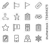 thin line icon set   marker ... | Shutterstock .eps vector #753454375