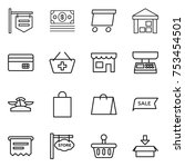 thin line icon set   shop... | Shutterstock .eps vector #753454501