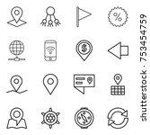 thin line icon set   pointer ... | Shutterstock .eps vector #753454759