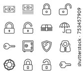 thin line icon set   money ... | Shutterstock .eps vector #753457909