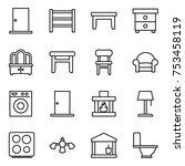 thin line icon set   door  rack ... | Shutterstock .eps vector #753458119