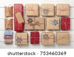 christmas gift boxes background | Shutterstock . vector #753460369