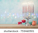 jewish holiday hanukkah... | Shutterstock . vector #753460501