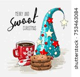 wintertheme  red cup of coffee... | Shutterstock .eps vector #753463084