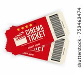 two cinema tickets isolated on... | Shutterstock .eps vector #753463474